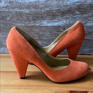Urban Outfitters Leather Orange Heels Size 8.5